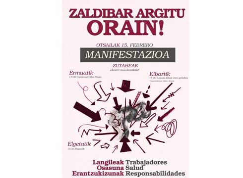 """Manifestazio bateratua deitu dute """"Zaldibar Argitu Orain!"""" goiburupean larunbaterako"""