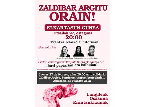 Zaldibar Argitu plataformak Elkartasun Gunea jarriko du eguenean Txaltxa Zelaian