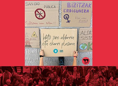 Domekan Untzaga plaza aldarriz bete nahi du Hamaika Gara mugimenduak
