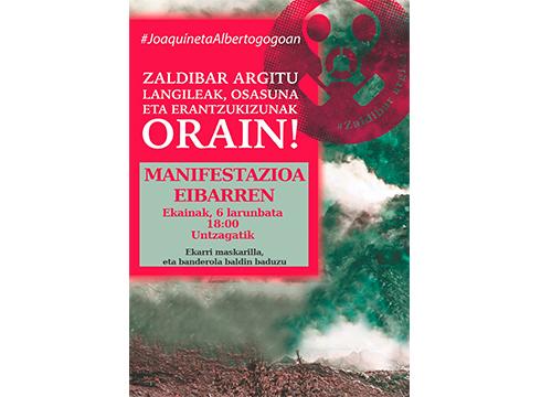 Zaldibar Argitu plataformak manifestazioa deitu du zapaturako