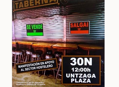 Herriko tabernariek manifestazioa deitu dute astelehen eguerdirako, sektoreak bizi duen egoera salatzeko