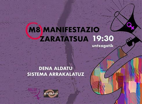 Talde feministek manifestazio zaratatsua deitu dute gaurko, 19:30ean Untzagatik