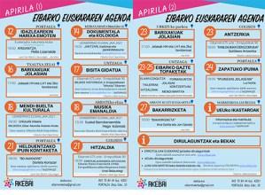 Apirileko euskararen agenda argitaratu du Eibarren Akebai plataformak
