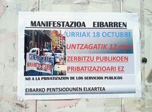 Eibarko Pentsionisten Taldeak manifestazioa egingo du gaur 12:00etan, Untzagatik abiatuta
