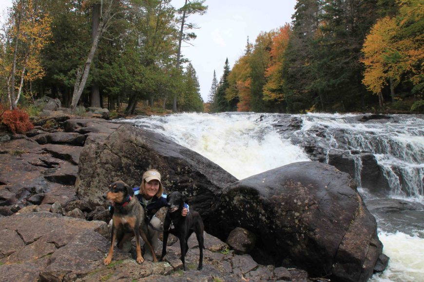 me and my dogs at buttermilk falls inadirondack park