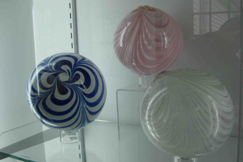 witches balls at sandwich glass museum in cape cod