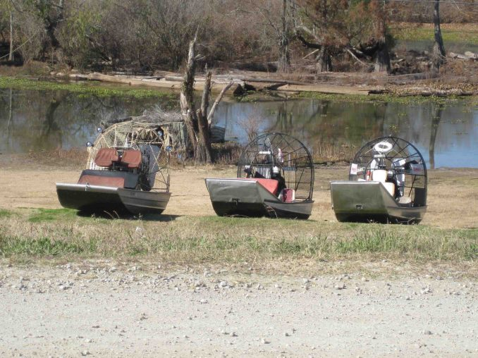 airboats at mcgees landing off louisiana bayou byway