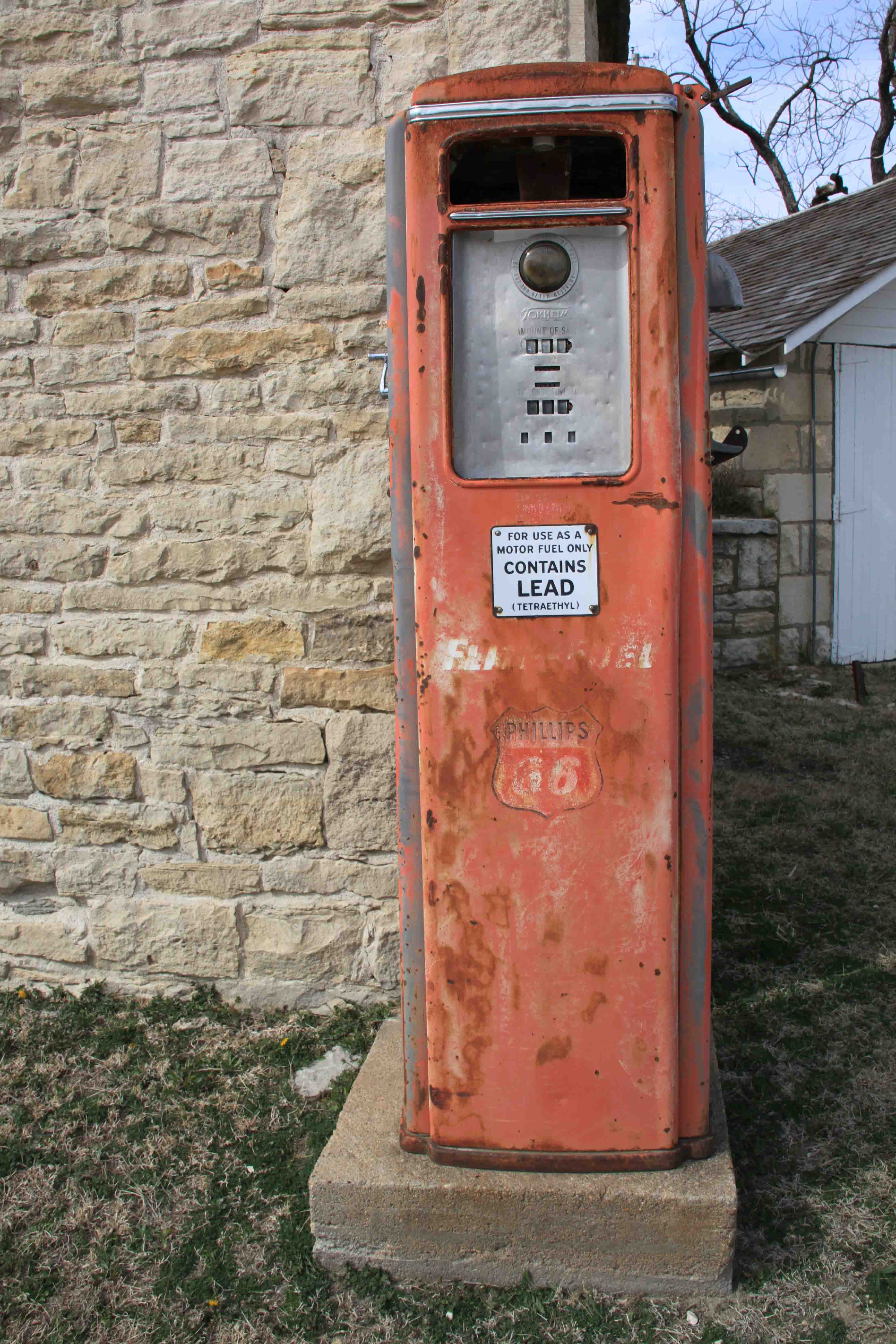 old gas pump at National Tallgrass Prairie Preserve