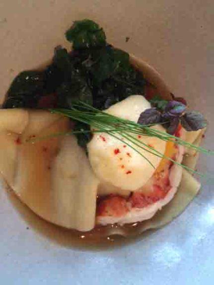 pork belly ravioli with lobster