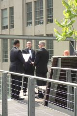 men exchanging vows on the High Line
