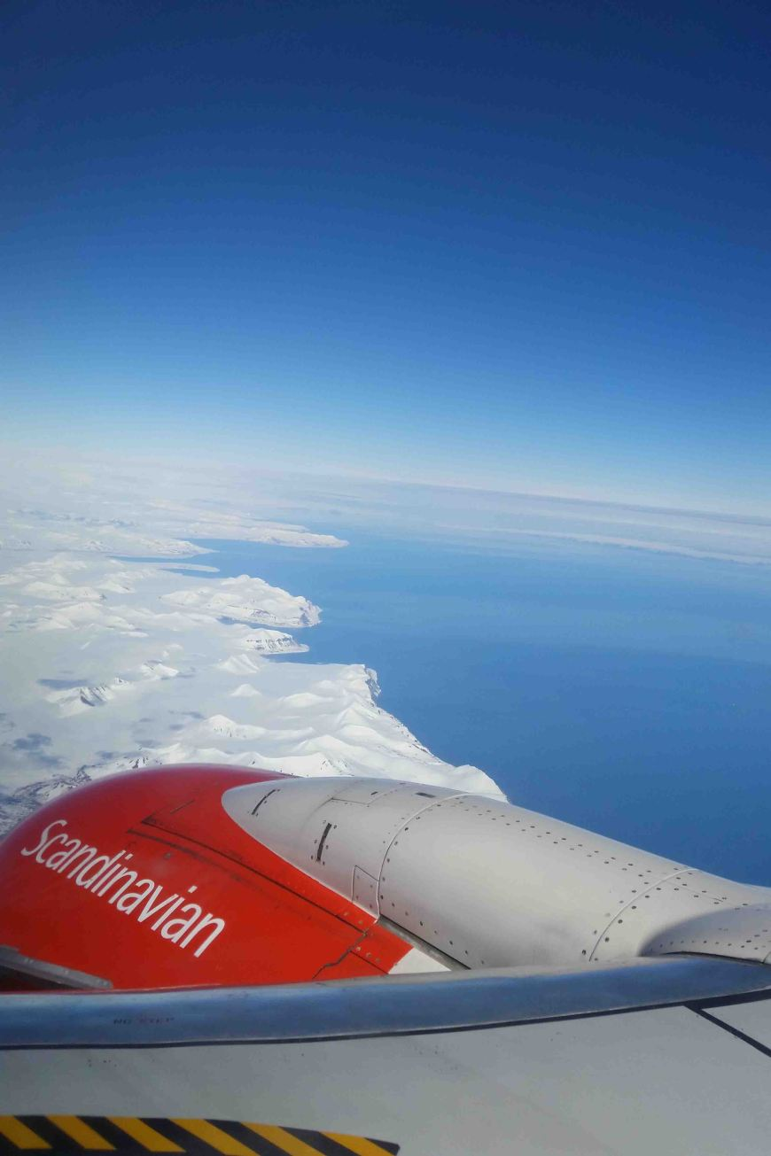 airplane shot above longyearbyen