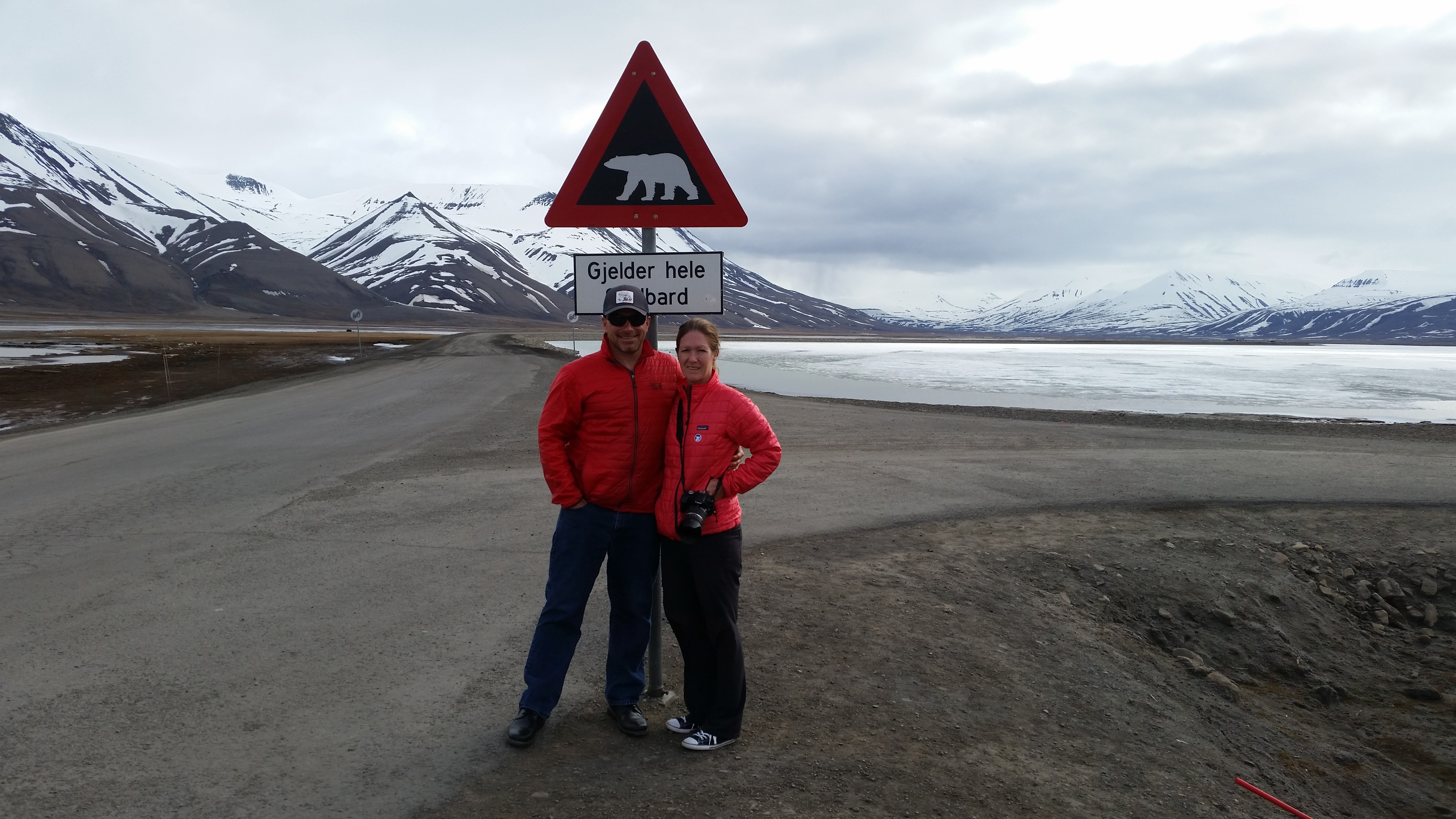 polar bear sign near Longyearbyen, Spitsbergen