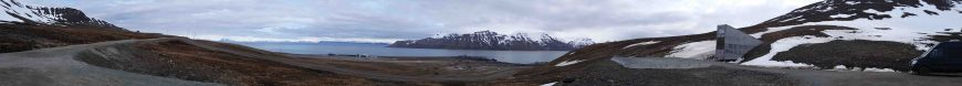 view of airport from seed bank in Longyearbyen, Spitsbergen