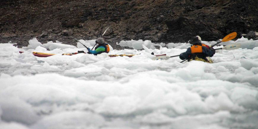 kayaking in the arctic brash ice