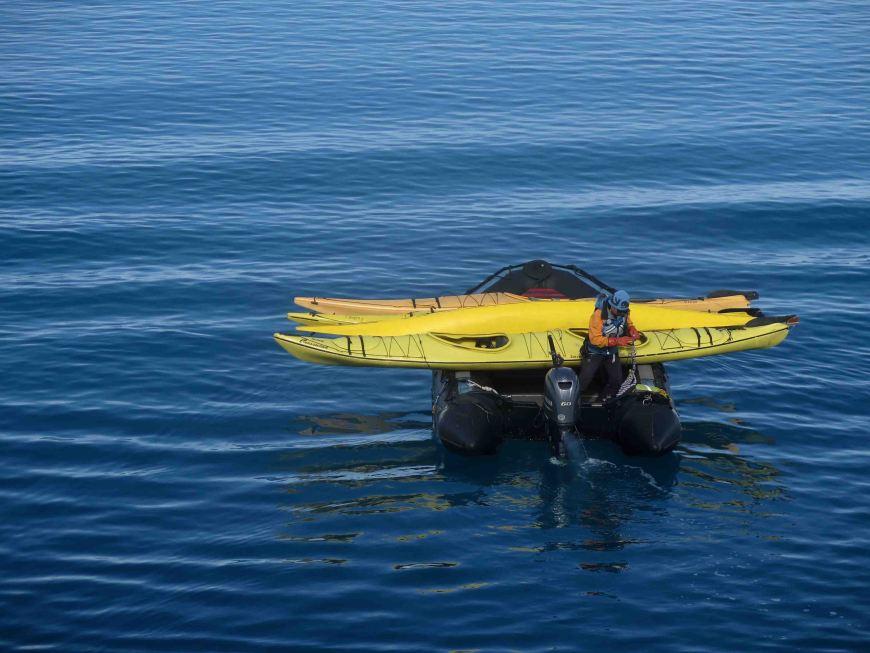 zodiac with kayaks at Monacobreen