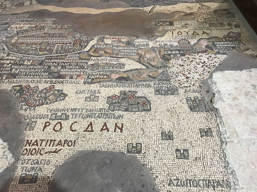 mosaic map of palestine in madaba jordan