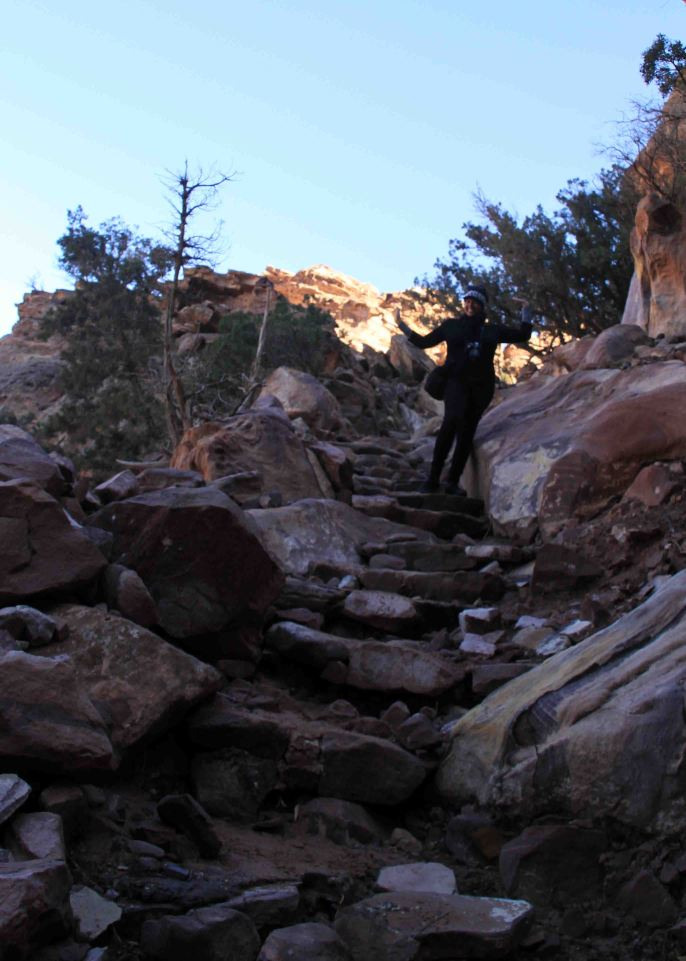 syreeta and the stairs on the trail to petra