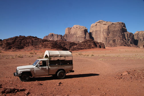 our vehicle in the wadi rum desert