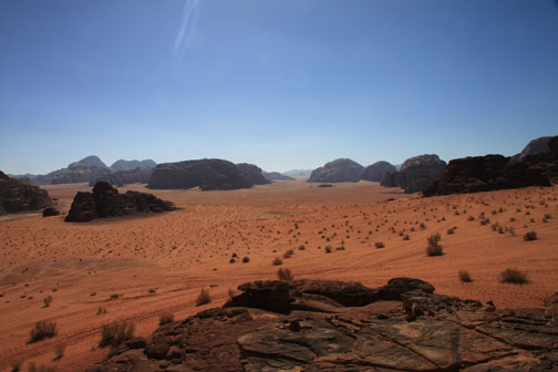 view from Lawrence of Arabia in the wadi rum desert