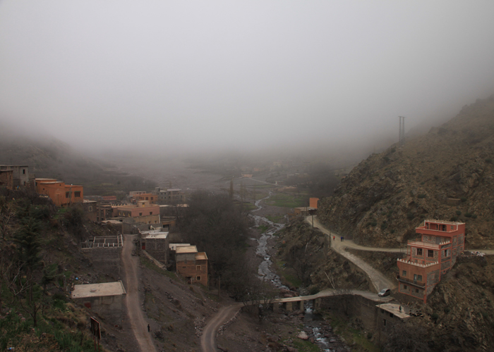 foggy view in the high atlas mountains