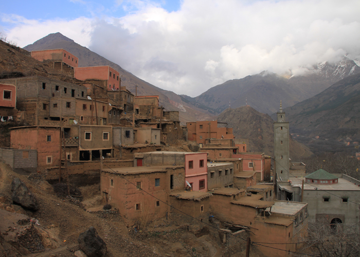 mountain side village in the high atlas mountains