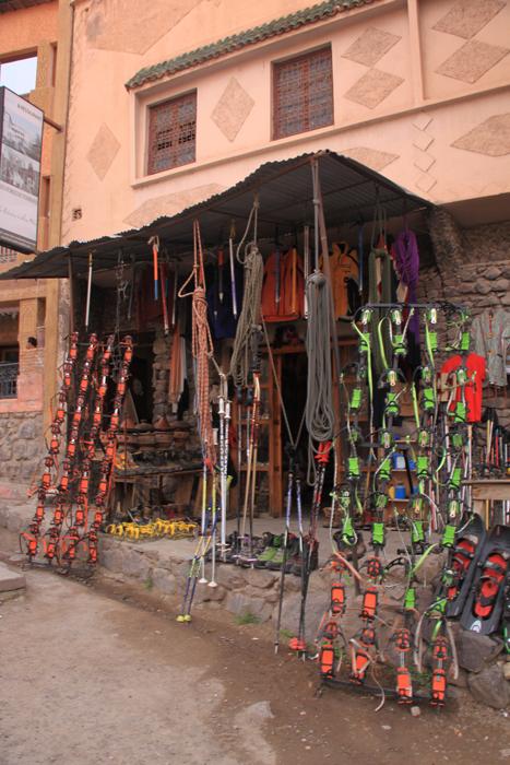 gear shop in imlil in the high atlas mountains
