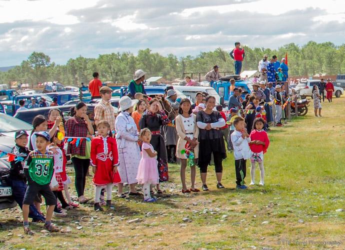 spectators at Naadam Horse Race in Mongolia