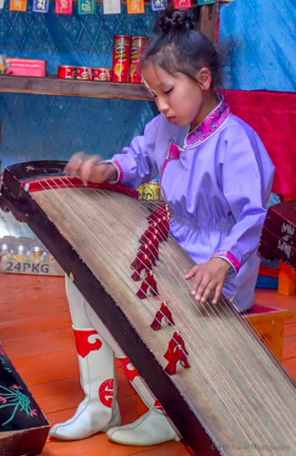 mongolian girl playing music