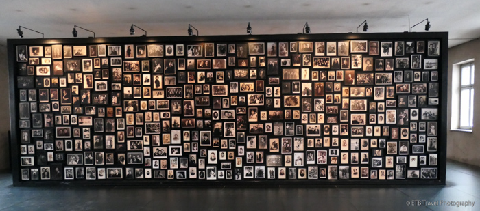 board of pictures at Auschwitz