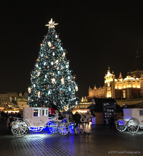 Christmas lights in Krakow's Old Town