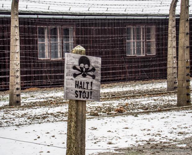 Halt sign at Auschwitz