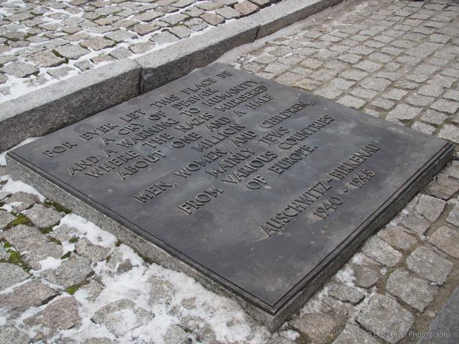 monument plaque at Auschwitz