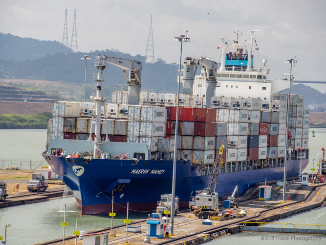 Container Ship entering the Panama Canal