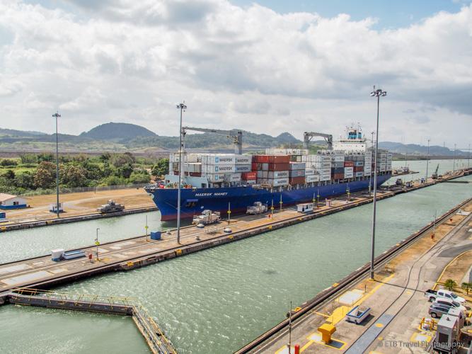 Miraflores Locks full of water in Panama Canal