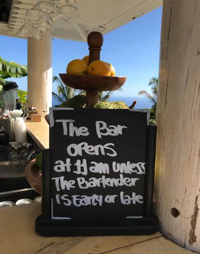 Sign at Juliana's bar in Saba