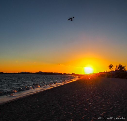 sunset on airport beach in sint Maarten