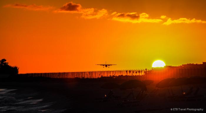 sunset on airport beach in sint Maarten