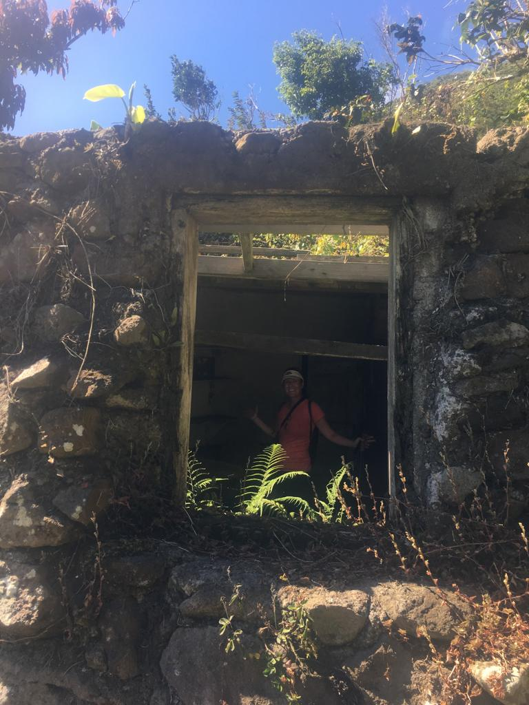 exploring abandoned house while hiking in saba
