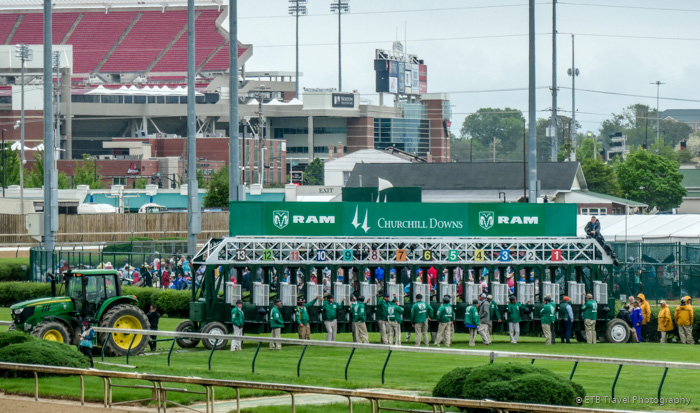 start gate for a grass race at the 145th Kentucky Derby