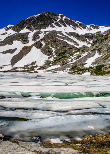 view of lake with ice