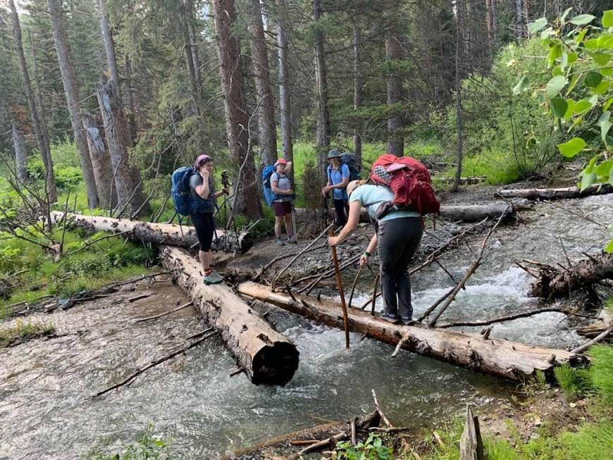 creek crossing on the Sneffels Traverse