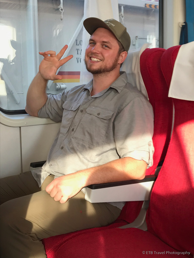 Jake on the train to Umani Springs