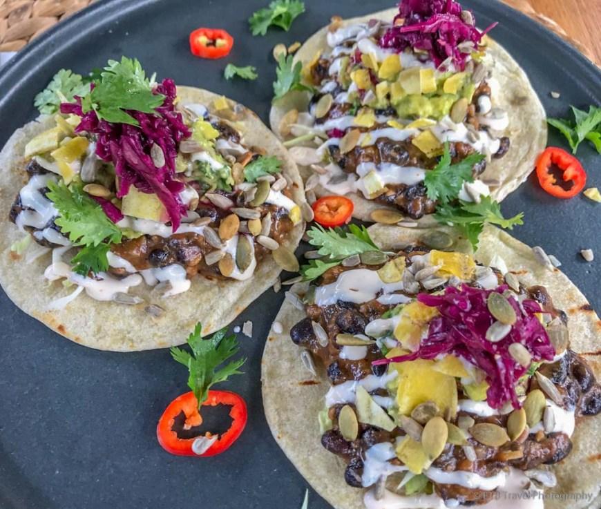 bean tacos at Boho Eatery