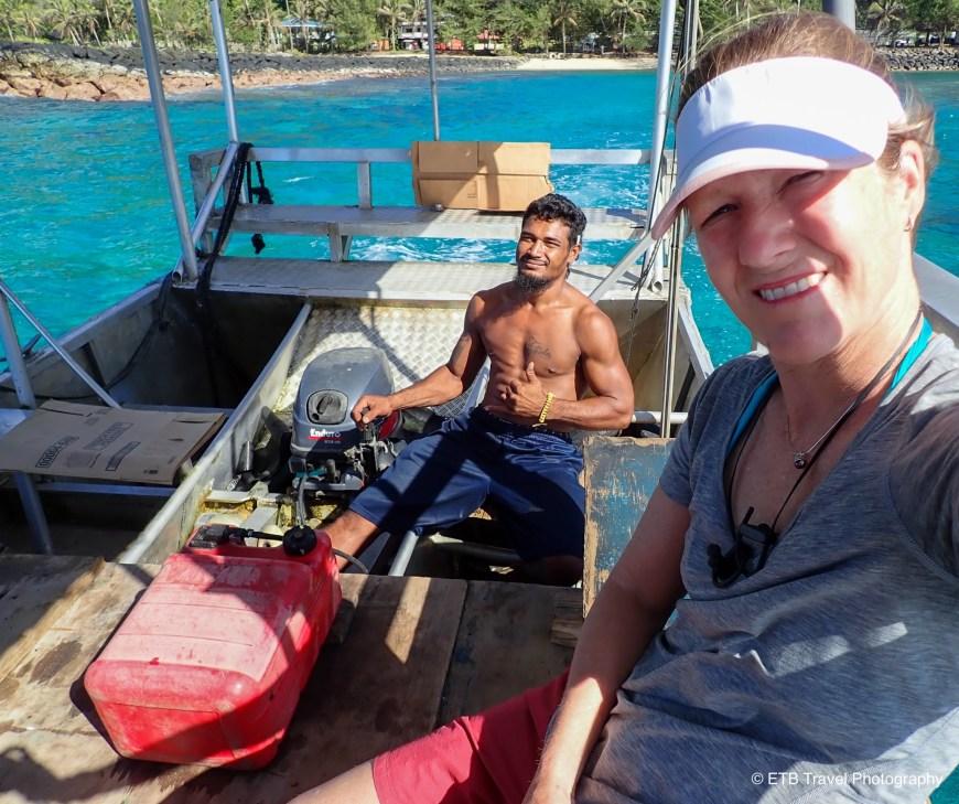 Boat to Aunu'u Island in American Samoa