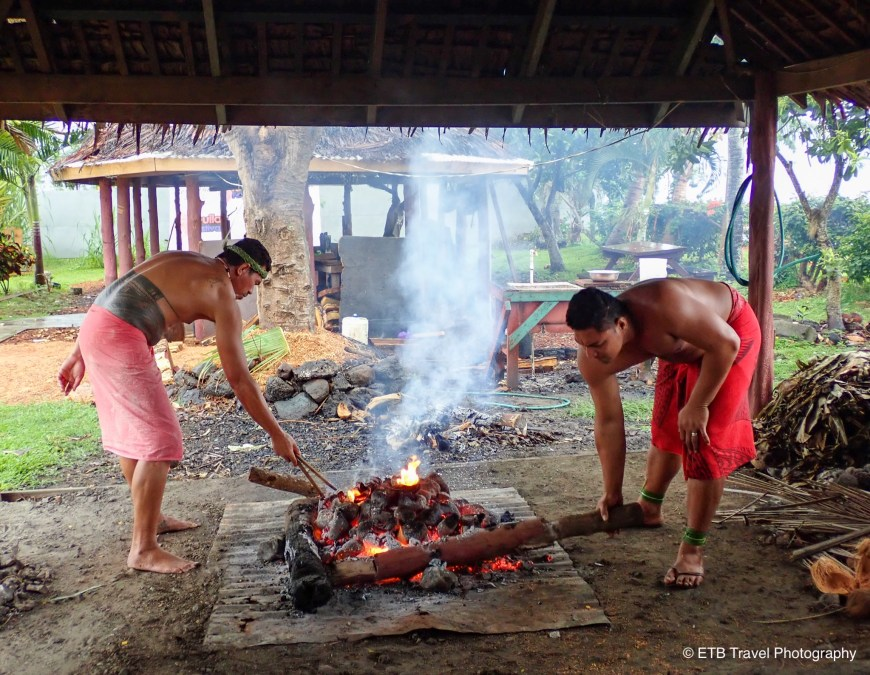Cooking demonstration at Samoa Cultural Village