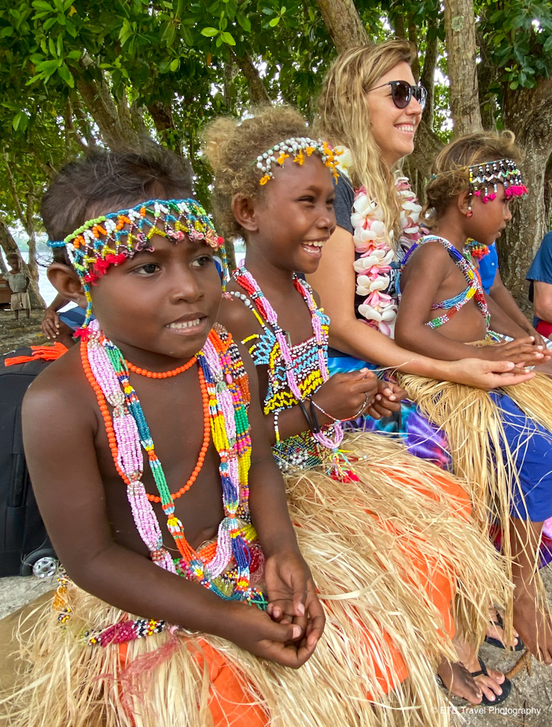 carmen with the kids in the solomons islands
