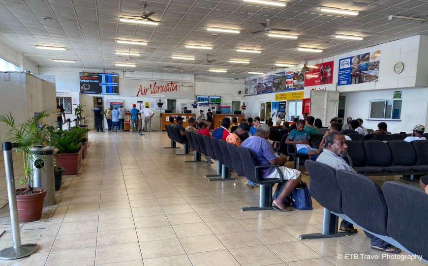 Waiting area at the  airport in Port Vila