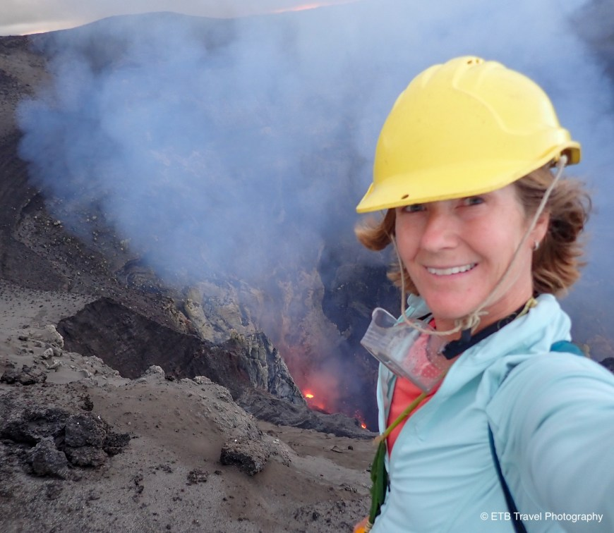 On the rim of Mount Yasur volcano in tanna