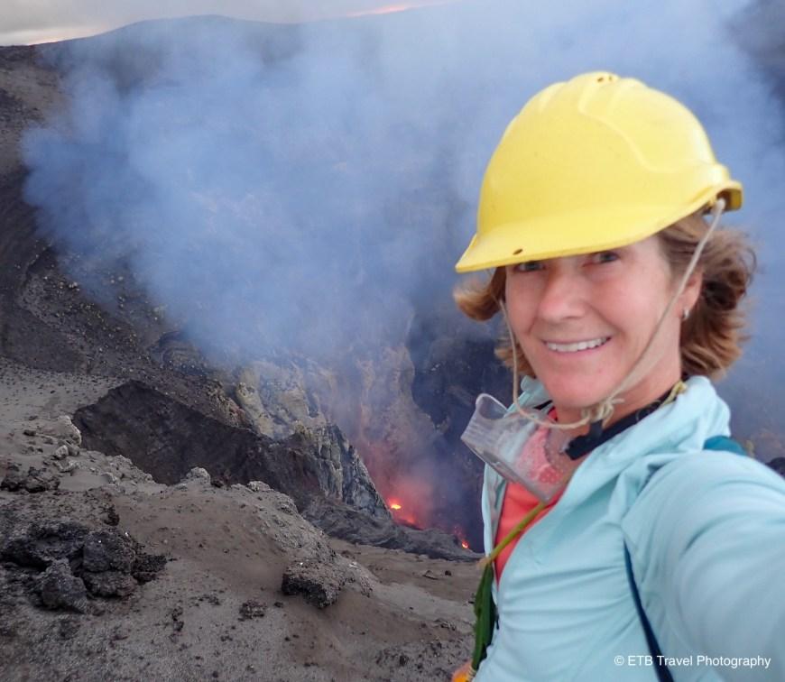 On the rim of Mount Yasur volcano in tanna