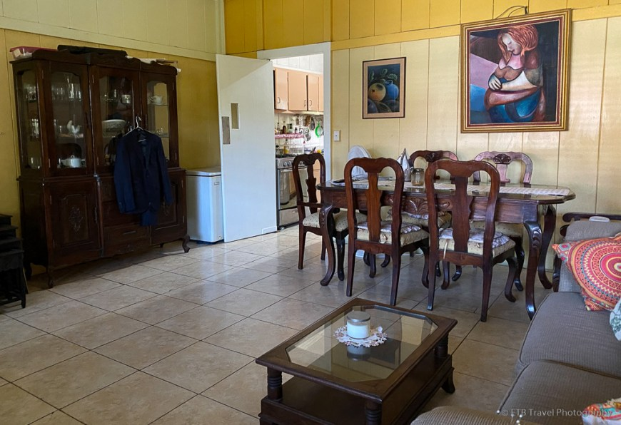 living and dining rooms at my homestay in Panama